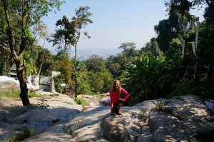 There was a random wat (temple) nestled in the hills on our hike (Chiang Mai in the background)