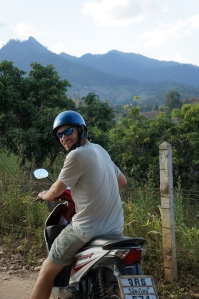 Brian showing everyone how it's done on the motorbike.