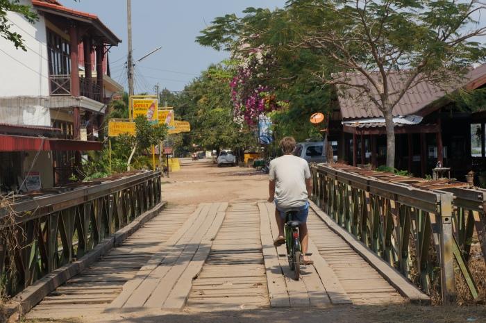 Brian biking around Don Khong island like it's the Tour de France.