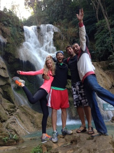 Enjoying the Kuang Si Waterfall with our Argentinean friends!