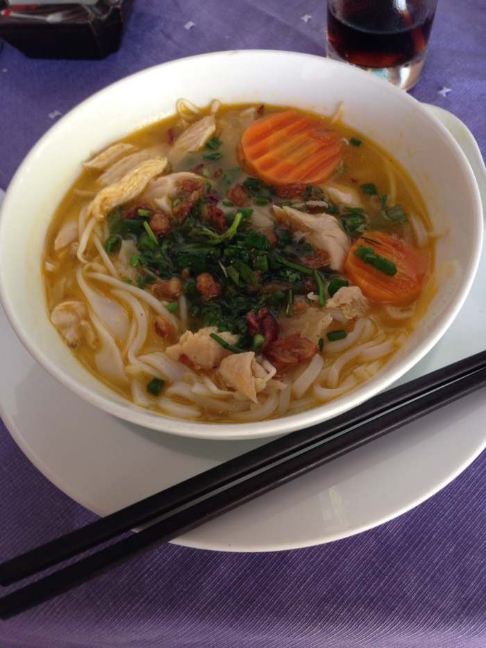 Our first pho (noodle soup) in Vietnam!