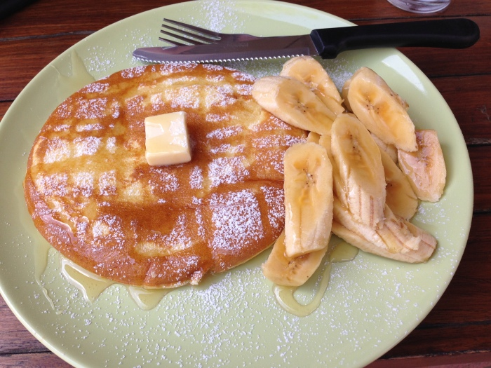 Indulging in a western breakfast! Banana pancakes in Pai, Thailand.
