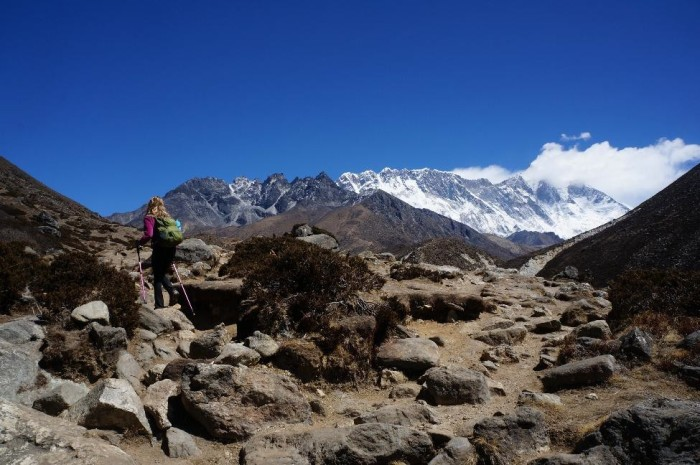 Alison blazing the trail with Lhotse in the background.