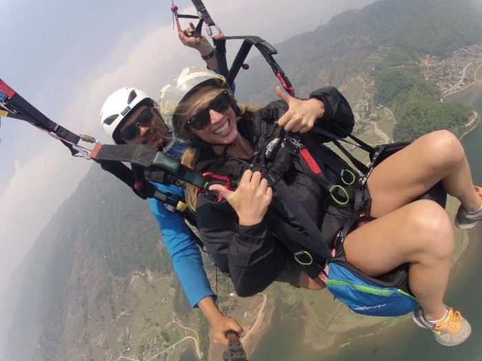 Alison paragliding in Pokhara #gopro
