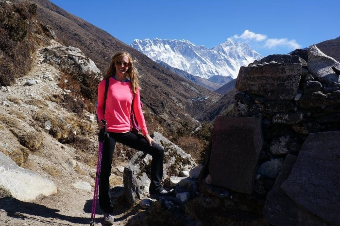 Alison was an all-star.  Lhotse (27,940 Ft) in the background, the 4th highest mountain in the world.