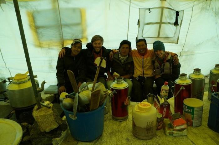 Pemba Sherpa, Brian No Sherpa, Cooking manager, Mima Sherpa, Alison Sherpa