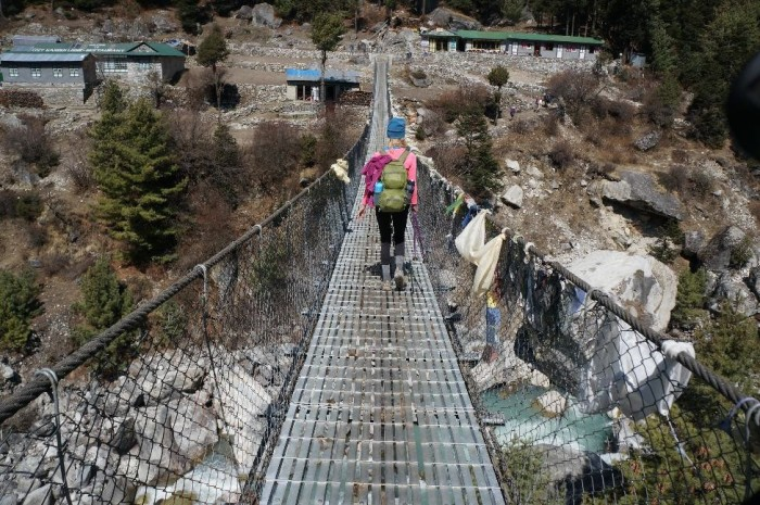Crossing one of the rinkety bridges over the Dudh Kosi