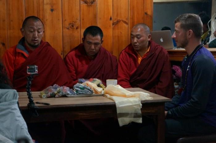 Monks from the Tengboche Monastery blessing Dan