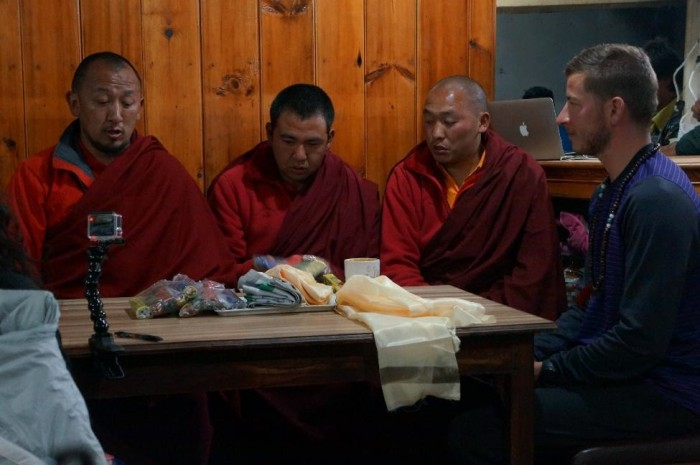 Monks from the Tengboche Monastery blessing Dan