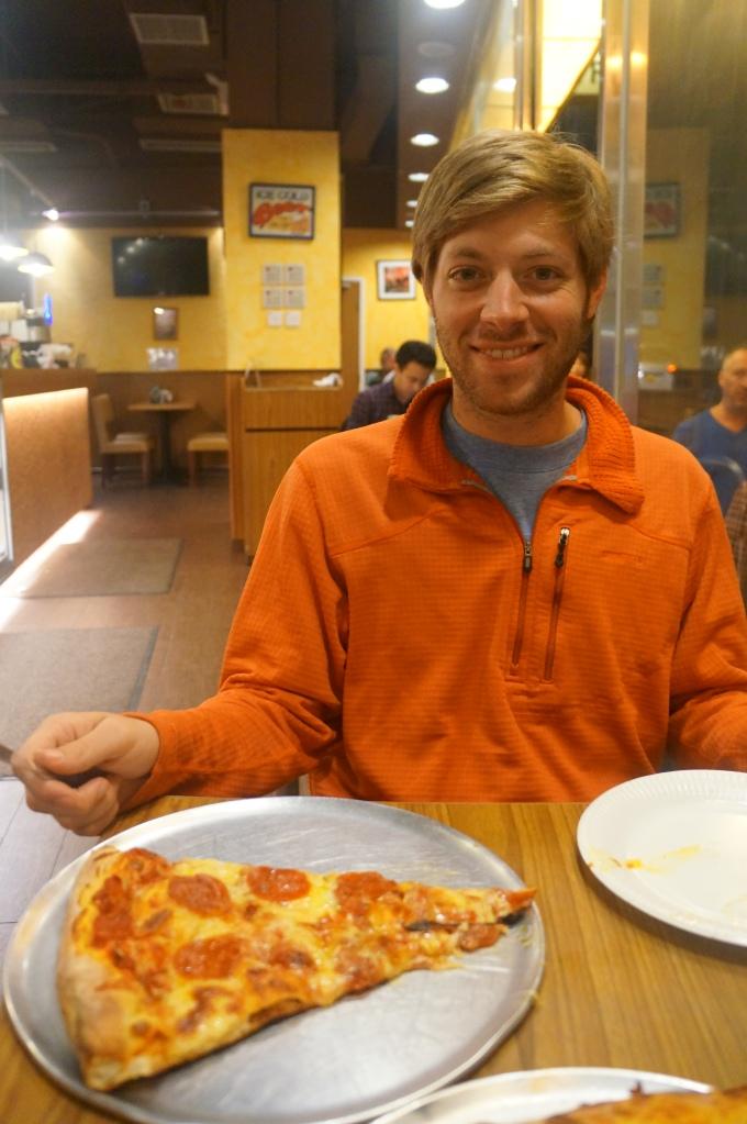 Brian enjoying NY style pizza!