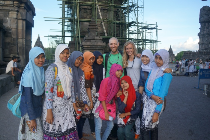 These girls insisted we take a picture with them at Prambanan Temple in Central Java.