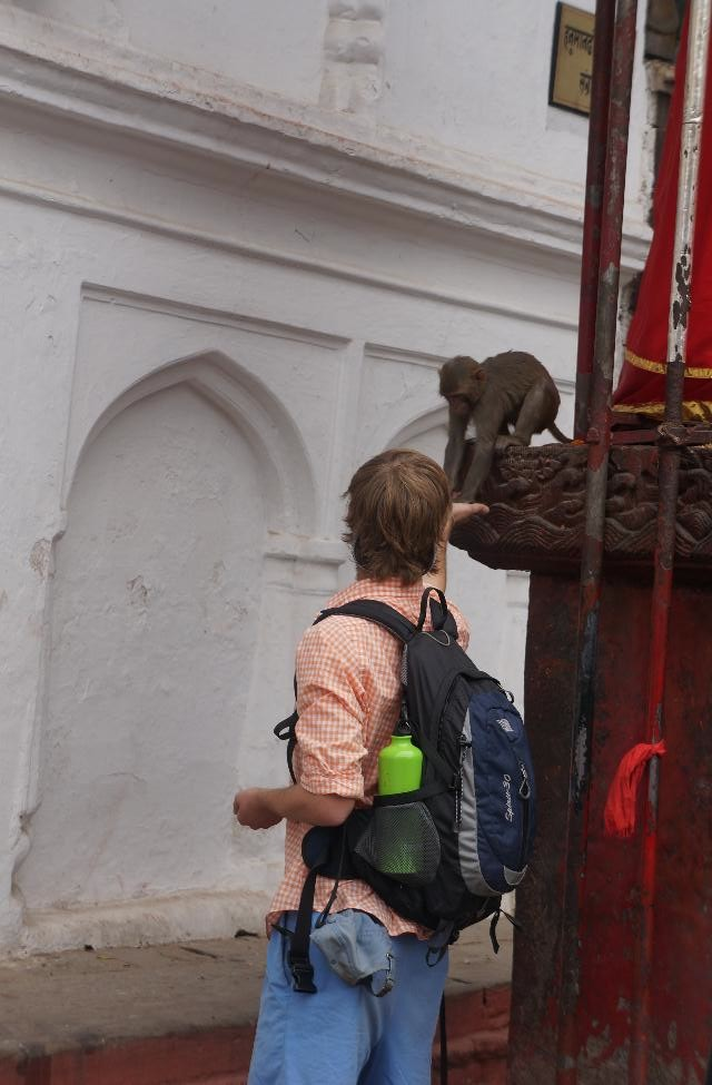 Feeding a monkey in Durbar Square.  Alison scolded me afterwards (she thought I might get rabies).
