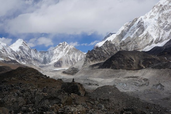 First look at the Khumbu Icefall in the distance