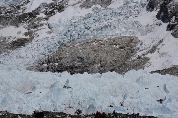 The infamous Khumbu Icefall, the massive glacier that moves 4-5 feet per day.