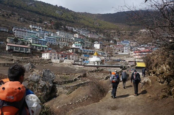 First peak at Namche Bazaar on the hike in