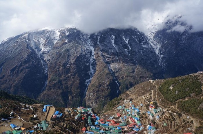 View of Namche Bazaar from above