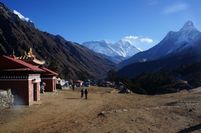 Village of Tengboche.  Monastery to the left and Everest and Lhotse straight ahead.  This was our favorite village on the trek.