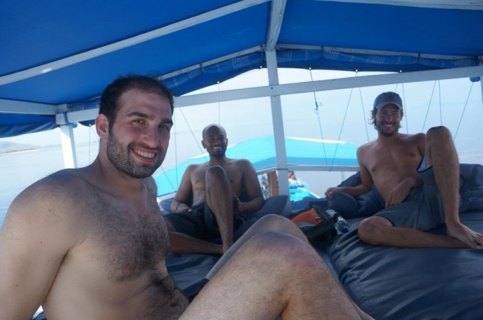Taking a break in between dives with our awesome scuba diving crew!