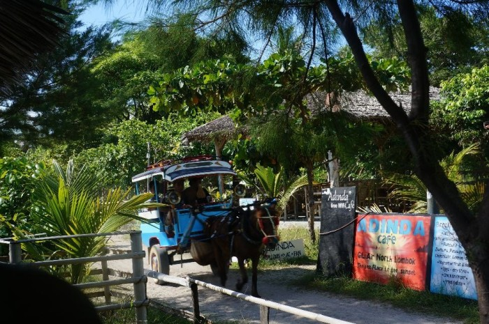 Horse and buggy, the only means of transportation on the island, which you can walk all the way around in about an hour.