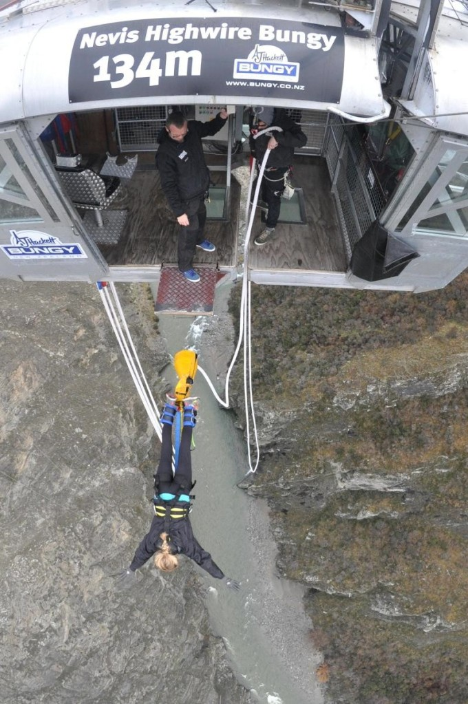 Alison killing it on the Nevis Bungy in Queenstown