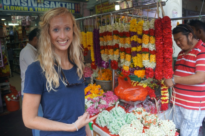 Beautiful flower garlands being made in Little India.
