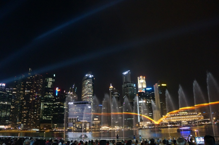 Every night there is a light and water show at the Marina Bay Sands.