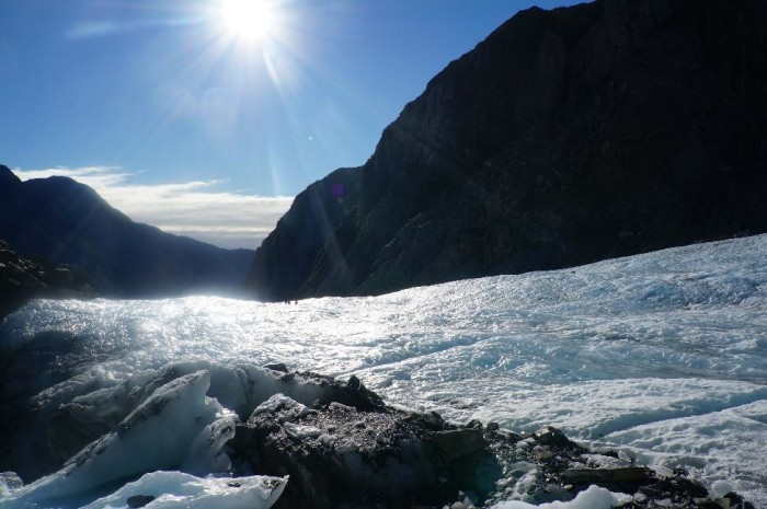 Sun beating down on the Franz Josef glacier