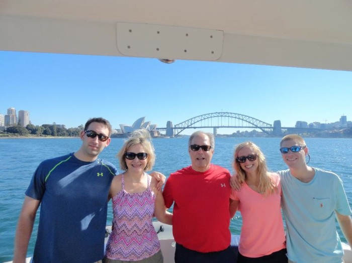 Sailing away in Sydney during the harbor cruise