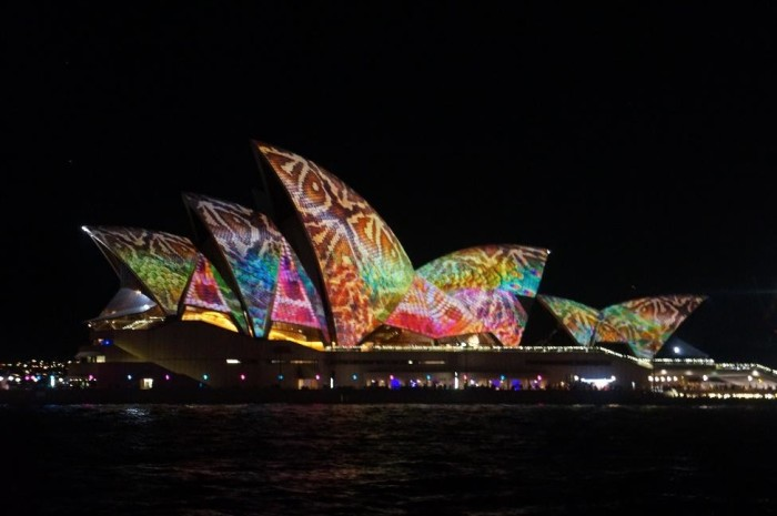 The Opera House lit up during the Vivid light show!
