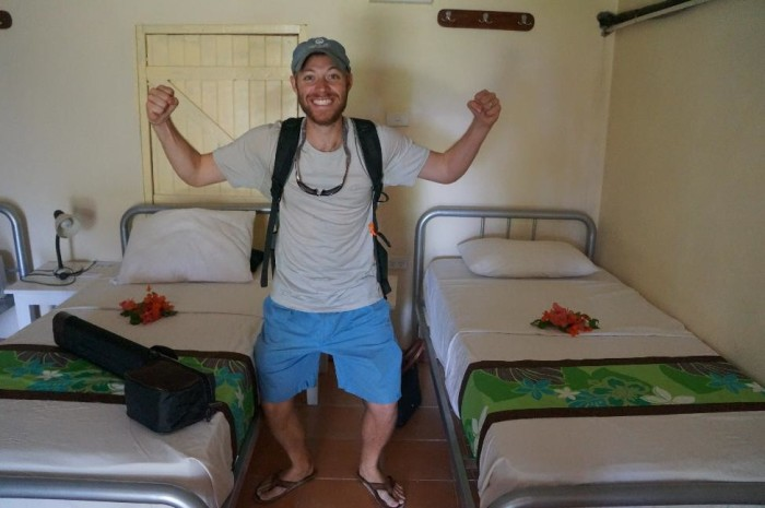 No climbing up to top bunk for Brian during our stay on Waya Island!