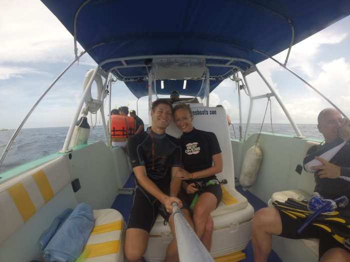 After snorkeling with our first whale shark!