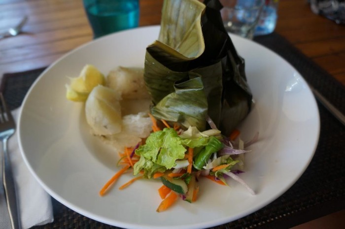 From the lunch menu, I had freshly caught red snapper cooked in a banana leaf.