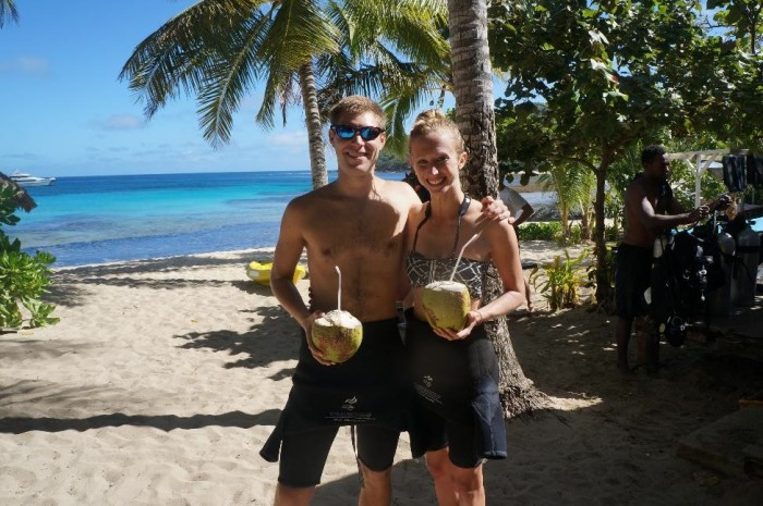 In between our dives, one of the staff was able to get two coconuts down from a nearby coconut tree and gave them to us to drink!