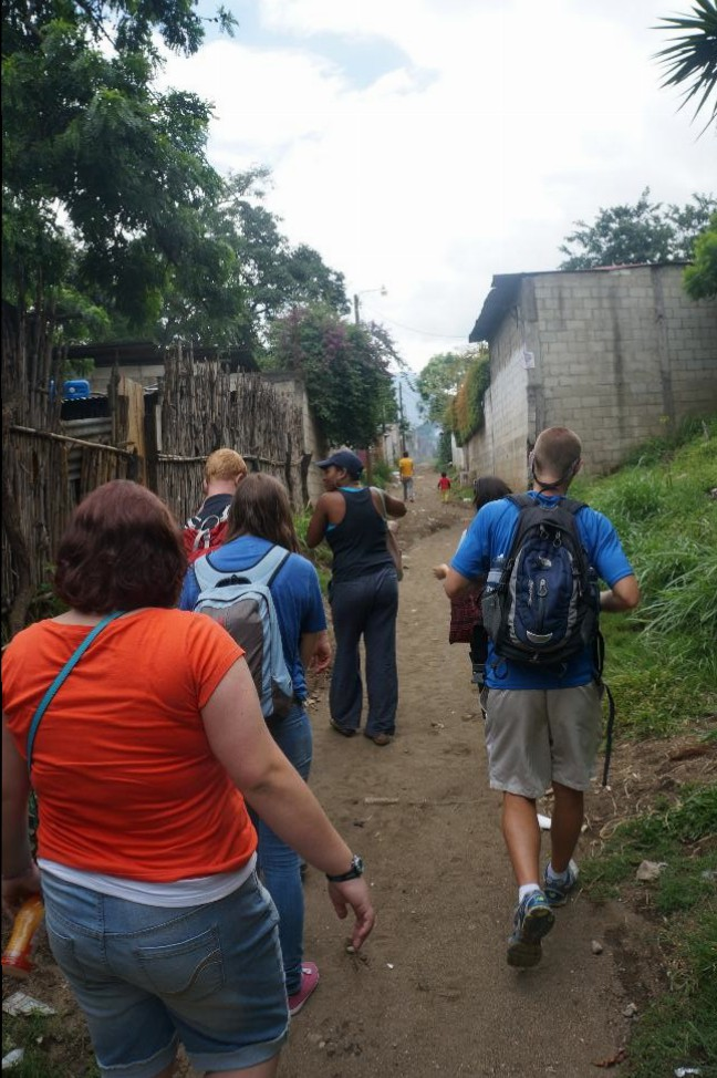Walking around the community surrounding the school.