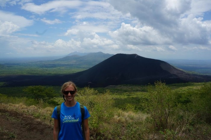 Start of the El Hoyo hike - that's Cerro Negro in the background, the most active volcano in Nicaragua