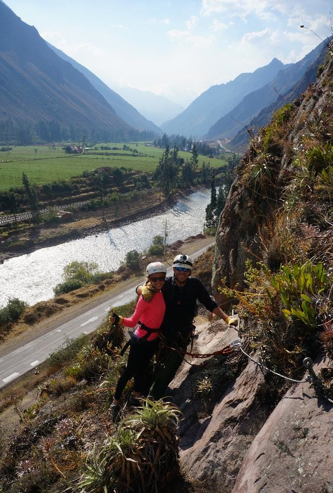 Start of the climb and nice view of the Sacred Valley of the Incas