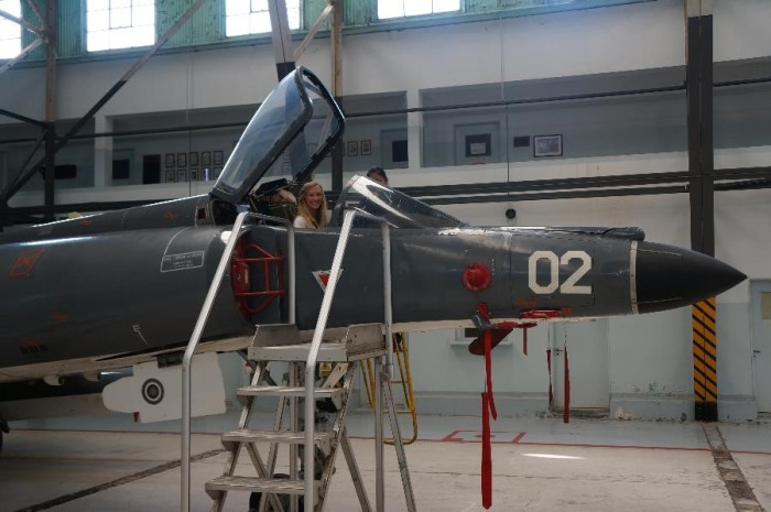Alison in a fighter plane that sunk two British battleships in the Falkland Islands war