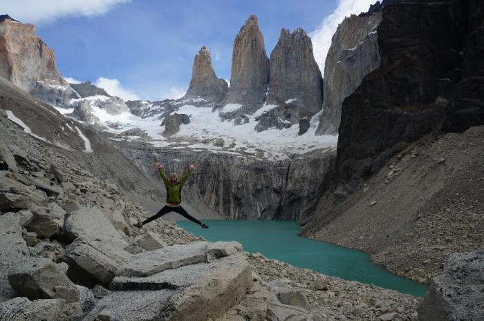 "The famous ""towers"" in Torres del Paine.  My wife has a 40 inch vert."